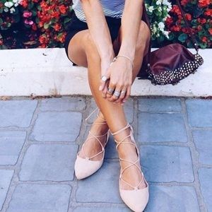 Blush pink  lace / wrap up block heels